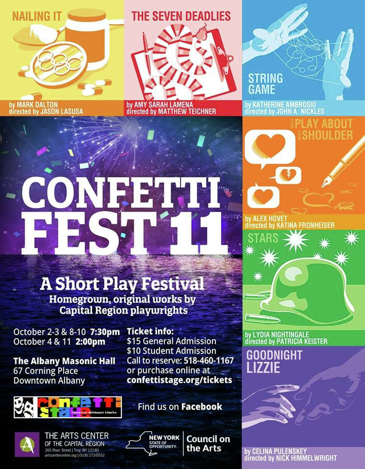 Confetti Fest 11 is a Capital Region short play festival which features only original works by local playwrights. When: Friday, Oct. 2, 7:30 p.m. Where: Albany Masonic Hall, 67 Corning Place, Albany. For tickets and more info, visit the website.