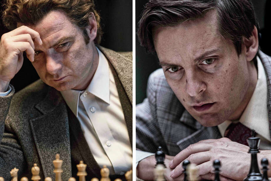 "Liev Schrieber and Tobey Maguire star in ""Pawn Sacrifice"" about the historic chess match between Boris Spassky and Bobby Fischer. Photo: Contributed Photo / Connecticut Post Contributed"