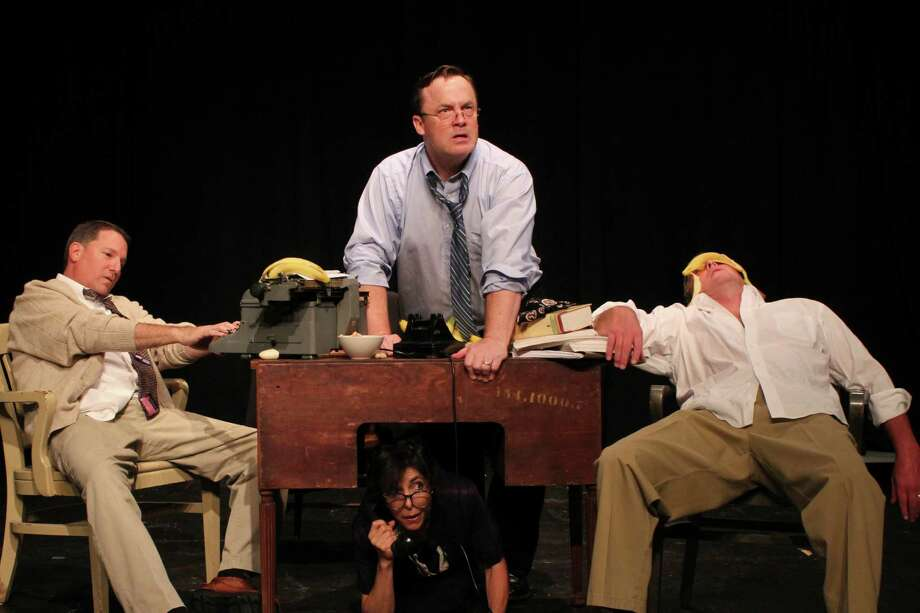 "Featured in ""Moonlight and Magnolias"" are Marc Hartog, of Westport, left, Bruce Murray, of Stratford, and John Bachelder, of Woodbridge. Under the table is Cindy Hartog, of Westport. Photo: Contributed Photo"
