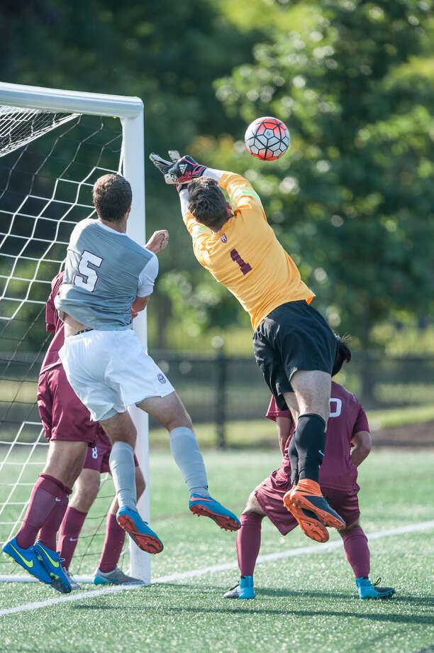 Ballston Spa High graduate Evan Mendez, the goalie of the Harvard men's soccer team. (Harvard sports information) Photo: Penny Ashford / Harvard Athletic Communications