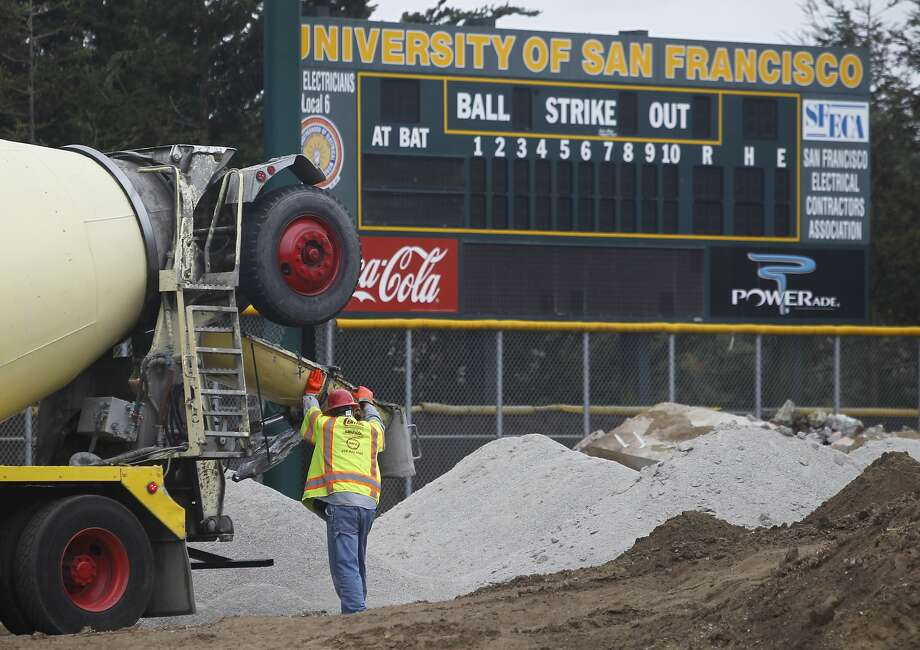 A cement truck is prepared to dump its load for the reconstruction of the baseball diamond and grandstand at USF in San Francisco, Calif. on Wednesday, Sept. 30, 2015. Photo: Paul Chinn, The Chronicle