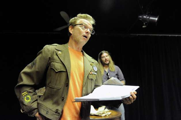 """Actors Bill Dobbins, left, and Jon Lee rehearses for the play """"Grinder's Stand"""" at the Bridge Street Theatre on Saturday Sept. 26, 2015 in Catskill, N.Y.  (Michael P. Farrell/Times Union) Photo: Michael P. Farrell / 00033466A"""
