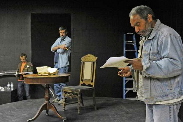"""Actors Stephen Jones, right, and Steven Patterson,center, and Bill Donnins, left, rehearses for the play """"Grinder's Stand"""" at the Bridge Street Theatre on Saturday Sept. 26, 2015 in Catskill, N.Y.  (Michael P. Farrell/Times Union) Photo: Michael P. Farrell / 00033466A"""