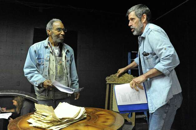"""Actors Stephen Jones, left, and Steven Patterson, right, rehearses for the play """"Grinder's Stand"""" at the Bridge Street Theatre on Saturday Sept. 26, 2015 in Catskill, N.Y.  (Michael P. Farrell/Times Union) Photo: Michael P. Farrell / 00033466A"""