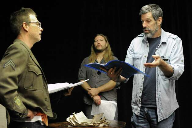 """Actors Bill Dobbins, left, Jon Lee, center, and Steven Patterson rehearses for the play """"Grinder's Stand"""" at the Bridge Street Theatre on Saturday Sept. 26, 2015 in Catskill, N.Y.  (Michael P. Farrell/Times Union) Photo: Michael P. Farrell / 00033466A"""