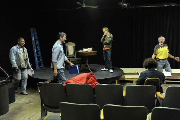"""John Sowle, right, directs rehearsal for the play """"Grinder's Stand"""" at the Bridge Street Theatre on Saturday Sept. 26, 2015 in Catskill, N.Y.  (Michael P. Farrell/Times Union) Photo: Michael P. Farrell / 00033466A"""
