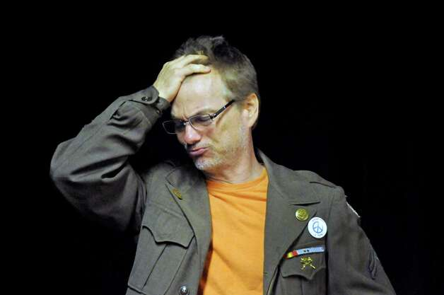 """Actor Bill Dobbins rehearses for the play """"Grinder's Stand"""" at the Bridge Street Theatre on Saturday Sept. 26, 2015 in Catskill, N.Y.  (Michael P. Farrell/Times Union) Photo: Michael P. Farrell / 00033466A"""