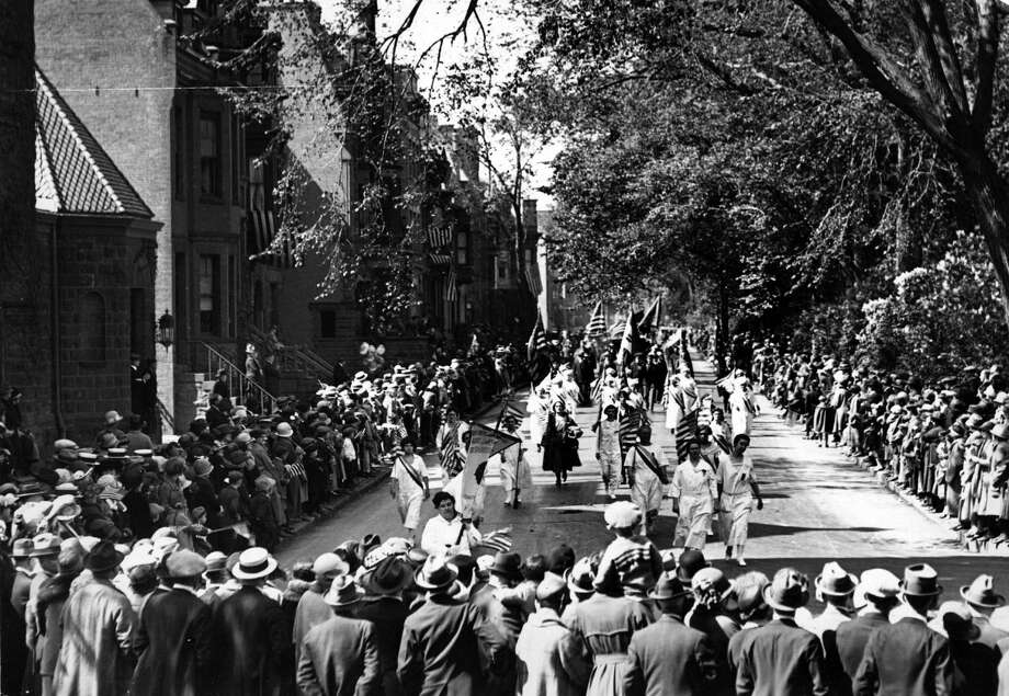 Albany tricentennial parade Tuesday, June 3, 1924, in Albany, N.Y. The celebration commemorated the 300th anniversary of the settlement of Albany in 1624 with the creation of Fort Orange. 15,000 people, 60 floats and 30 bands marched through  the city. (Times Union Archive)