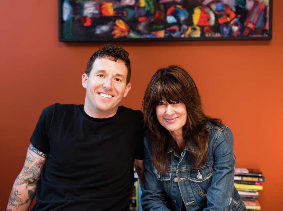 Author Janis Cooke Newman (right) has created the Basement Series of regular meet-ups for writers. She and writer Joshua Mohr (left) appear this month. / Ian Tuttle