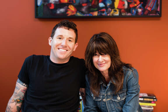 Author Janis Cooke Newman (right) has created the Basement Series of regular meet-ups for writers. She and writer Joshua Mohr (left) appear this month.