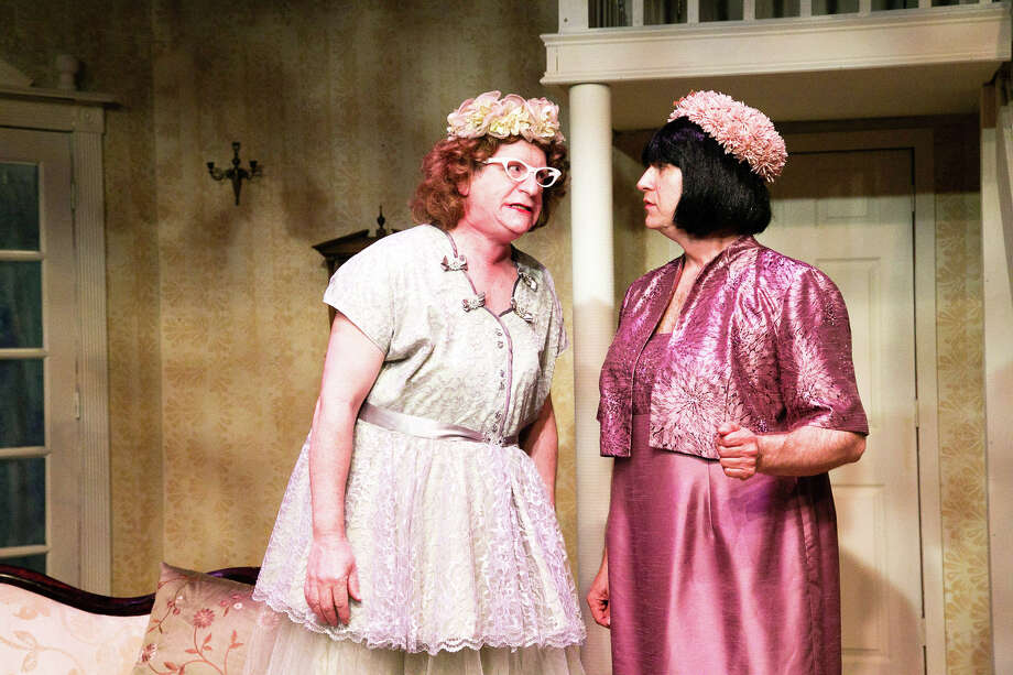"""TheatreWorks New Milford is staging its production of Ken Ludiwg's """"Leading Ladies"""" Fridays and Saturdays at 8 p.m. through Oct. 10, as well as Sunday at 2 p.m. Above, Rob Pawlikowski of Roxbury, left, and Hal Chernoff of Simsbury rehearse a scene from the production. Tickets are $23 for adults and $18 for students and military personnel with ID. Parking for the theater is available behind the Catherine E. Lillis Administration Building off East Street. For more information, call the 5 Brookside Ave. theater at 860-350-6863 or visit www.theatreworks.us. Photo: Courtesy Of TheatreWorks / The News-Times Contributed"""