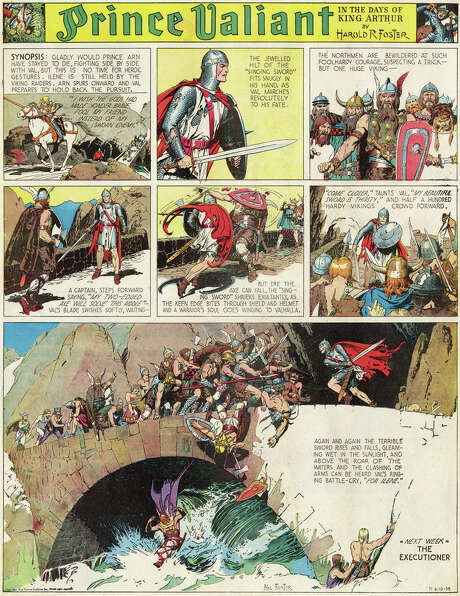 Prince Valiant (1937 – Present) by Hal FosterThe comic strip world's most earnest attempt at great art, Hal Foster's epic adventure of the world of knights and chivalry features a young warrior prince from the court of King Arthur, his experiences in many exotic lands and the armor-and-sword battles he fought.