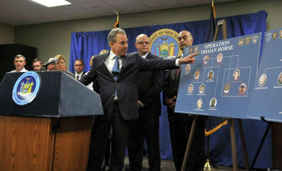 Attorney General Eric Schneiderman speaks during a press conference about the undercover cocaine distribution investigation of the Young Gunnerz gang dubbed Operation Trojan Horse Tuesday, Aug. 4, 2015, at the New York State Police Academy in Albany, N.Y. (Phoebe Sheehan/Special to The Times Union) Photo: PS / 10032893A