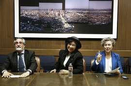Candidates for San Francisco District 3 supervisor Aaron Peskin (left), Wilma Pang (middle), and incumbent Julie Christensen (right) meet with the editorial board for a debate at San Francisco Chronicle in San Francisco, Calif., on Wednesday, September 30, 2015.