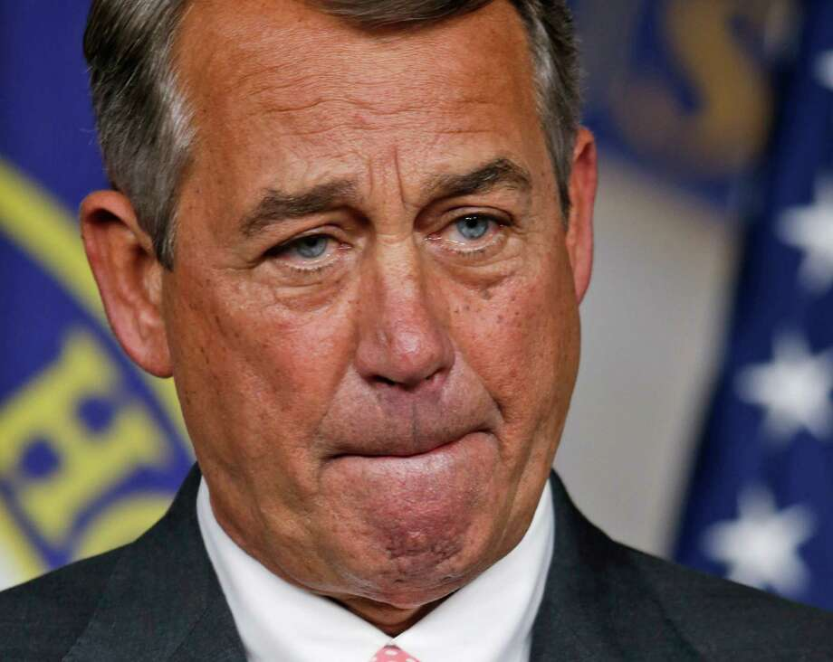 House Speaker John Boehner, of Ohio, speaks during a news conference on Capitol Hill  in Washington, Friday, Sept. 25, 2015. In a stunning move, Boehner informed fellow Republicans on Friday that he would resign from Congress at the end of October, stepping aside in the face of hardline conservative opposition that threatened an institutional crisis.(AP Photo/Steve Helber) Photo: Steve Helber / Associated Press / AP