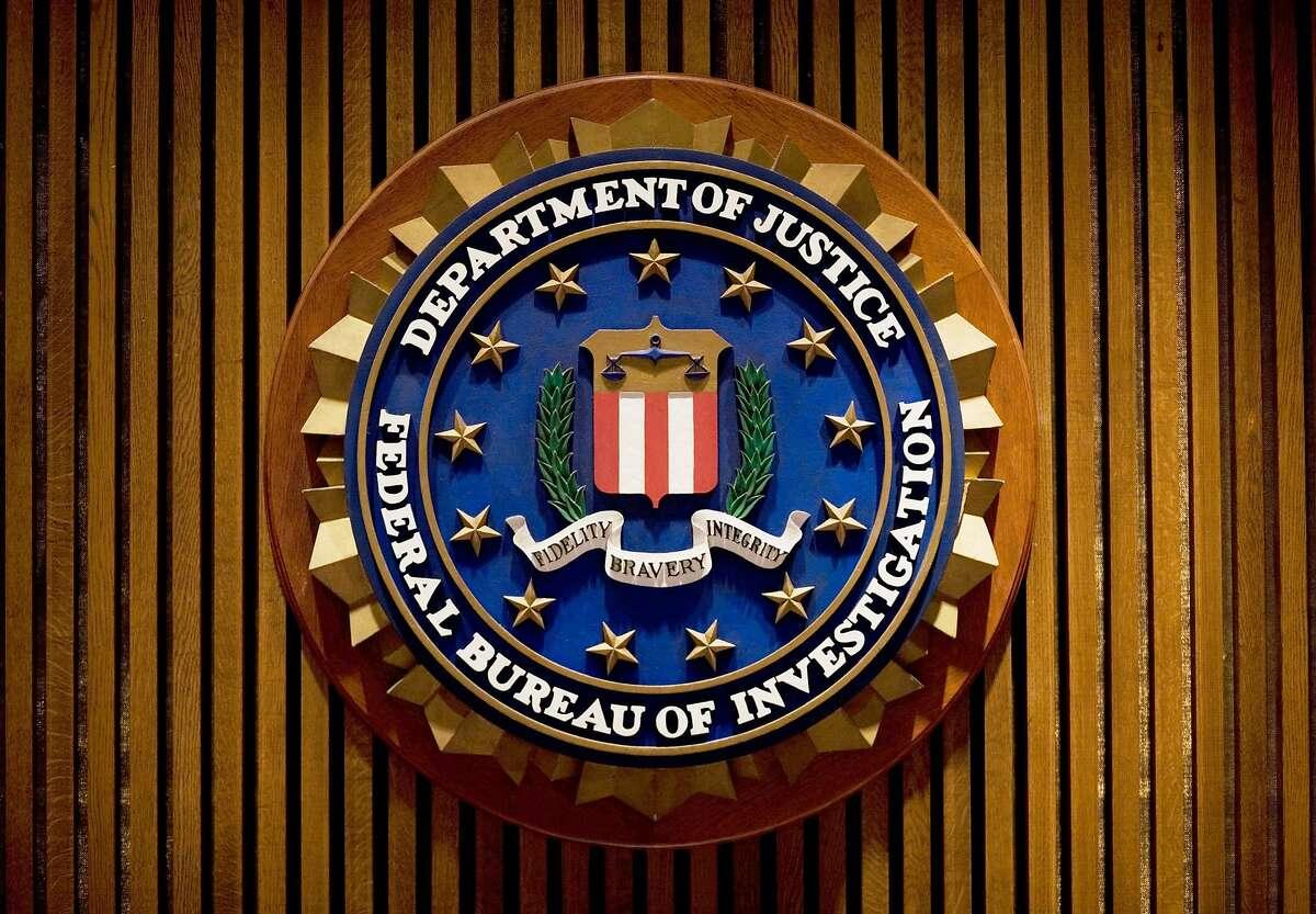 A crest of the Federal Bureau of Investigation (FBI) in Washington, DC.