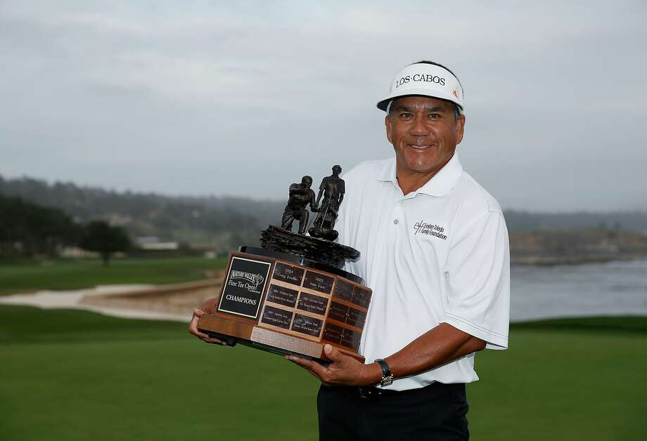 Esteban Toledo beat the more popular Tom Watson at the First Tee Open at the Pebble Beach, but he has a great story. Photo: Ezra Shaw, Getty Images