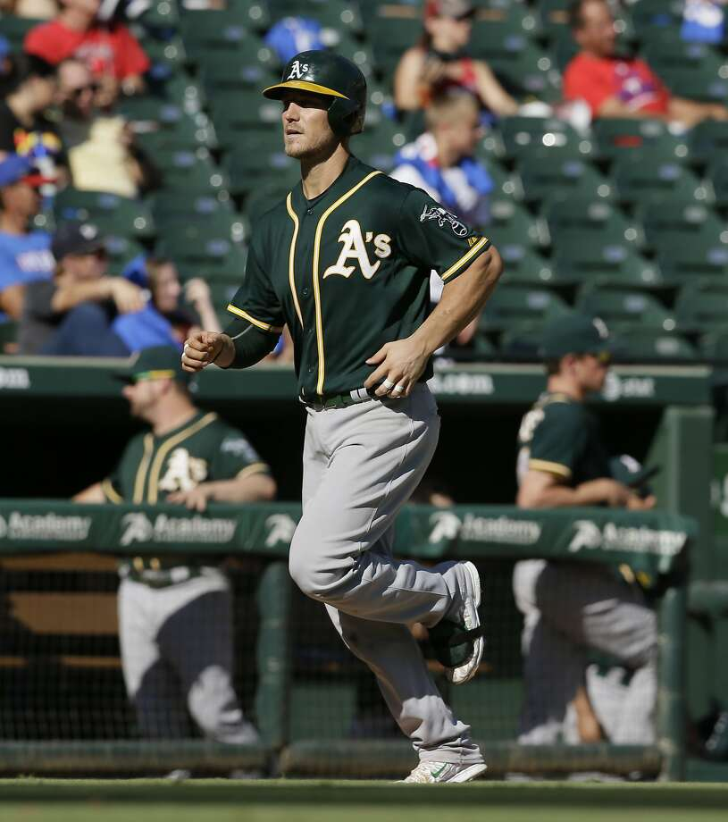 Oakland Athletics Carson Blair runs the bases after hitting a solo home run during the seventh inning of a baseball game against the Texas Rangers in Arlington, Texas, Sunday, Sept. 13, 2015. (AP Photo/LM Otero) Photo: LM Otero, Associated Press