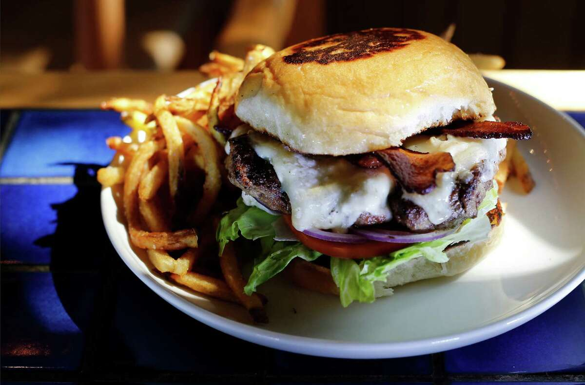 The Heights Burger is made with a blend of shrort rib, brisket and chuck. This one includes a slice of Gorgonzola Dolce.