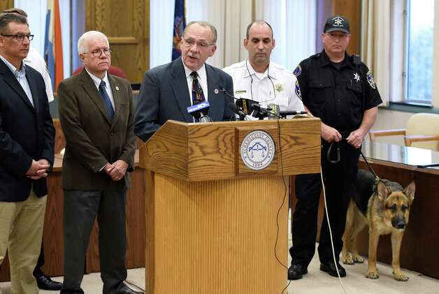 Anthony W. Jasenski, Sr. chair of the Schenectady County Legislature announces the start up of a new County-wide Drug Unit run by the Sheriff's Department, to address the growing heroin epidemic that is impacting the county during a press conference held Sept. 30, 2015 in Schenectady, N.Y.  (Skip Dickstein/Times Union) Photo: SKIP DICKSTEIN / 10033557A