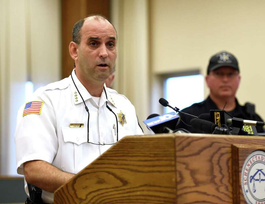 Schenectady County Sheriff Dom Dagostino announces the start up of a new County-wide Drug Unit run by the Sheriff's Department, to address the growing heroin epidemic that is impacting the county during a press conference held Sept. 30, 2015 in Schenectady, N.Y.  (Skip Dickstein/Times Union) Photo: SKIP DICKSTEIN / 10033557A