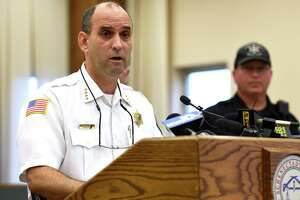 Schenectady County Sheriff Dom Dagostino announces the start up of a new County-wide Drug Unit run by the Sheriff's Department, to address the growing heroin epidemic that is impacting the county during a press conference held Sept. 30, 2015 in Schenectady, N.Y.  (Skip Dickstein/Times Union)