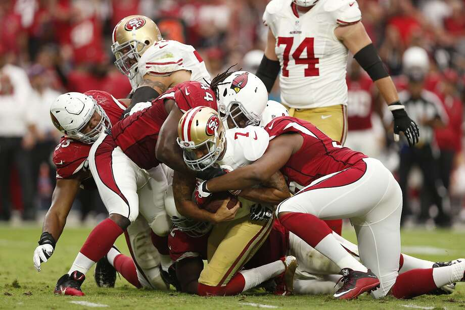 Colin Kaepernick threw for 67 yards against the Cardinals, almost one-fifth of his career average against Green Bay. Photo: Christian Petersen, Getty Images