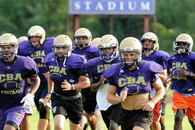 CBA's football team during practice on Thursday, Sept. 3, 2015, at Christian Brothers Academy in Colonie, N.Y. CBA is preparing for their game against Shaker on Friday night. (Cindy Schultz / Times Union) Photo: Cindy Schultz / 00033229A