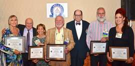 At the Radio Hall of Fame luncheon (l to r): Dusty Street, Mike Colgan, Lissa Kreisler, Harvey Stone, Gil Haar, and, representing Ken Neilsen and Peter Scott: Bill Ruck and Zia Schwartz.