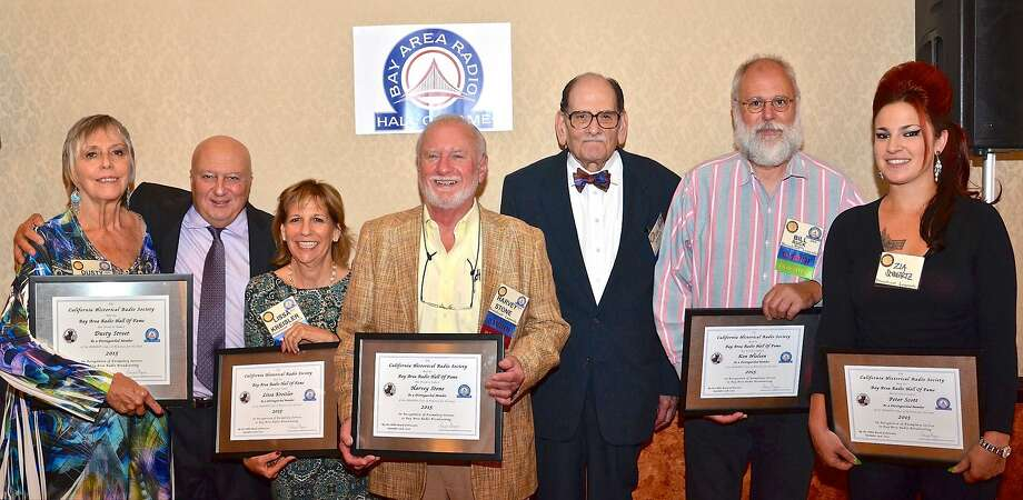 At the Radio Hall of Fame luncheon (l to r): Dusty Street, Mike Colgan, Lissa Kreisler, Harvey Stone, Gil Haar, and, representing Ken Neilsen and Peter Scott: Bill Ruck, Zia Schwartz. Photo: Composite Photo ByKenny Wardell