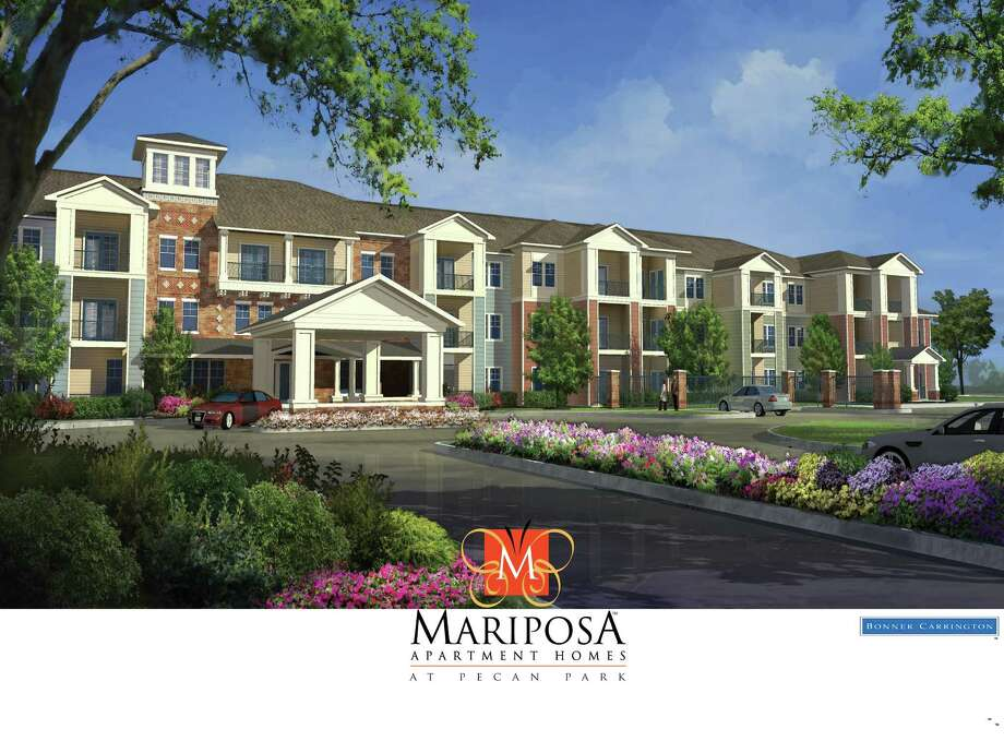 A rendering of a new active adult apartment community nearing completion in La Porte. Mariposa Apartment Homes at Pecan Park is a Bonner Carrington development. Photo: Bonner Carrington