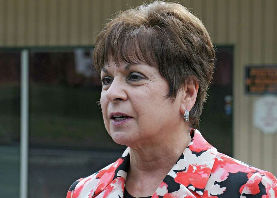 File - Colonie Supervisor Paula Mahan speaks to the media Tuesday, Sept. 22, 2015, outside the Handy Andy convenience store in Colonie, N.Y. Mahan presented her 2016 budget to the Town Board Wednesday. The $87.2 million plan is up 2.14 percent, or $1.8 million, but stays within the state tax cap. (Lori Van Buren / Times Union) Photo: Lori Van Buren / 00033462A