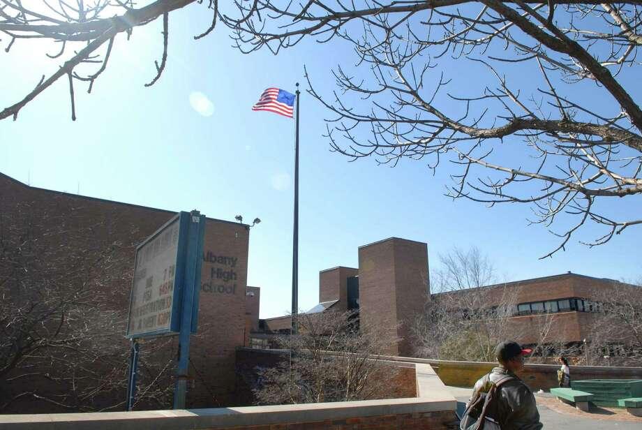 An exterior view of Albany High School. (Paul Buckowski / Times Union) Photo: PAUL BUCKOWSKI