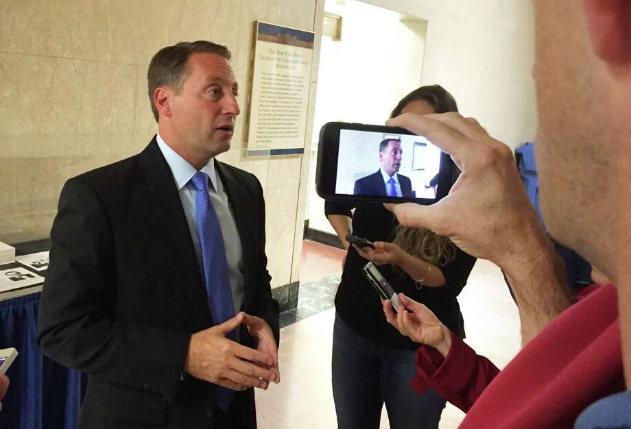 Former Republican gubernatorial candidate Rob Astorino speaks to reporters at the Capitol Wednesday, Sept. 30, 2015, in Albany, N.Y. (Casey Seiler/Times Union) Photo: Casey Seiler