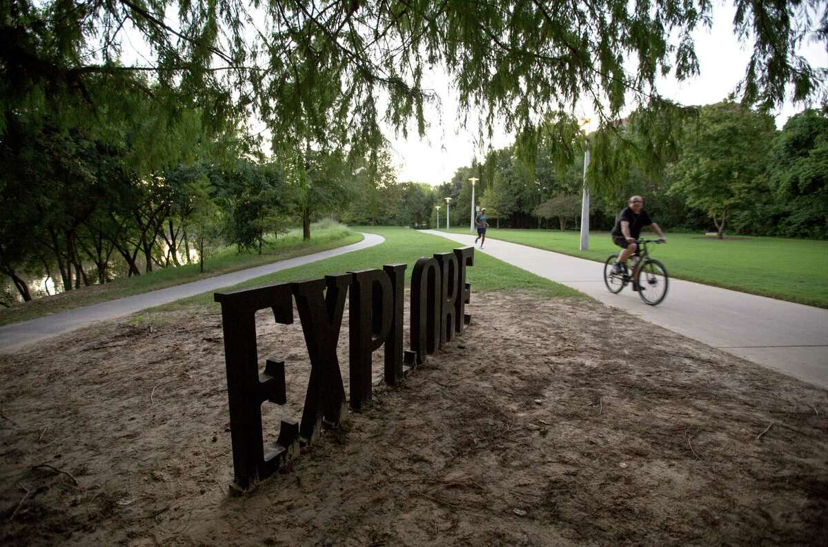 One of Anthony Shumate's sculptures is seen along the Kinder Footpath in Buffalo Bayou Park Tuesday, Sept. 22, 2015, in Houston. ( Jon Shapley / Houston Chronicle )