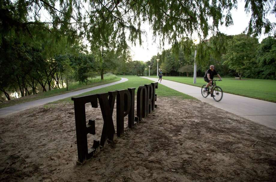 One of Anthony Shumate's sculptures is seen along the Kinder Footpath in Buffalo Bayou Park Tuesday, Sept. 22, 2015, in Houston. ( Jon Shapley / Houston Chronicle ) Photo: Jon Shapley, Staff / © 2015 Houston Chronicle