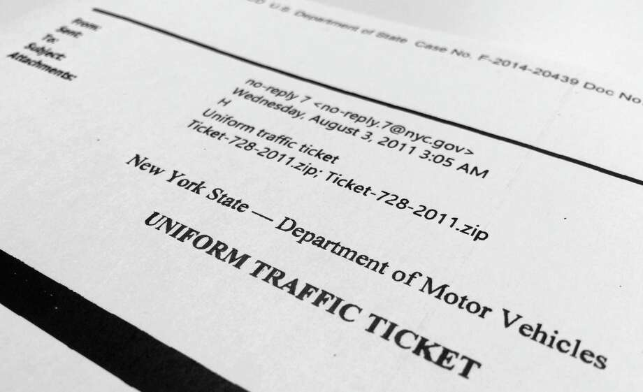 An image released by the State Department shows a portion of a bogus traffic ticket email that Hillary Clinton received. Photo: Jon Elswick /Associated Press / AP