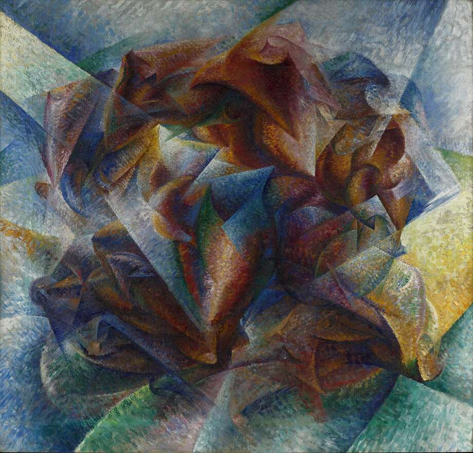 "Italian Futurist Umberto Boccioni's 1913 oil painting,  ""Dynamism of a Soccer Player,"" is one of two hundred works -- all of them exhibited here 100 years ago -- in the exhibition ""Jewel City: Art from San Francisco's Panama-Pacific International Exposition"" at the de Young Museum.  Courtesy Fine Arts Museums of San Francisco Photo: John Wronn, Courtesy Fine Arts Museums Of Sa"