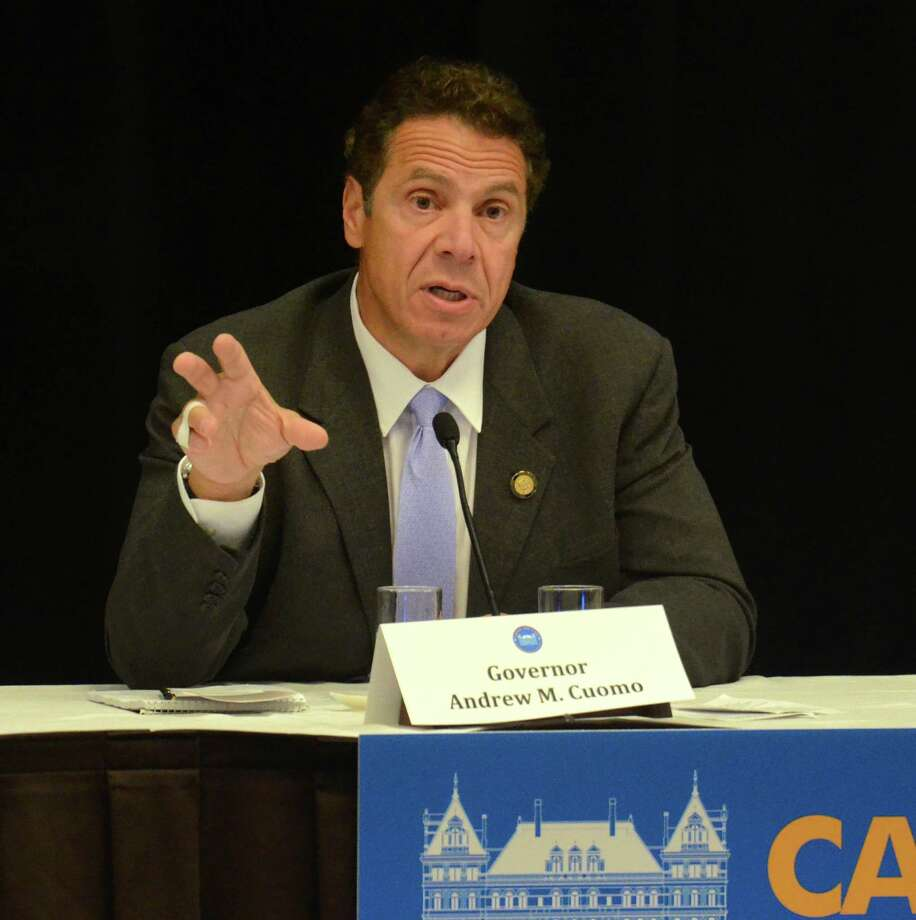 "Gov. Andrew Cuomo speaks at his ""Capital for a Day"" series at the Holiday Inn in Liverpool, suburban Syracuse, N.Y., Wednesday, Sept. 30, 2015. (David Lassman /The Syracuse Newspapers via AP) Photo: David Lassman / The Syracuse Newspapers"