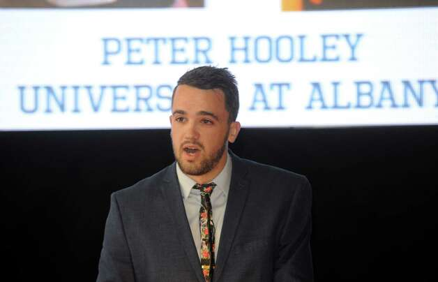 UAlbany basketball fifth year senior guard Peter Hooley speaks after receiving the inspiration award at the annual coaches vs cancer event on Wednesday Sept. 30, 2015 in Troy , N.Y.  (Michael P. Farrell/Times Union) Photo: Michael P. Farrell / 10033555A
