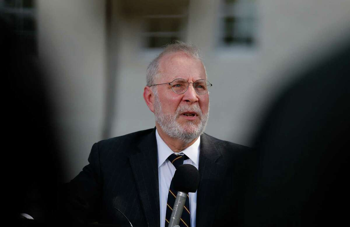 Attorney Eugene Fidell addresses the media at the conclusion of the first day of the Article 32 hearing for his client Sgt. Bowe Bergdahl at Joint Base San Antonio - Fort Sam Houston on Thursday, Sept. 17, 2015. (Kin Man Hui/San Antonio Express-News)