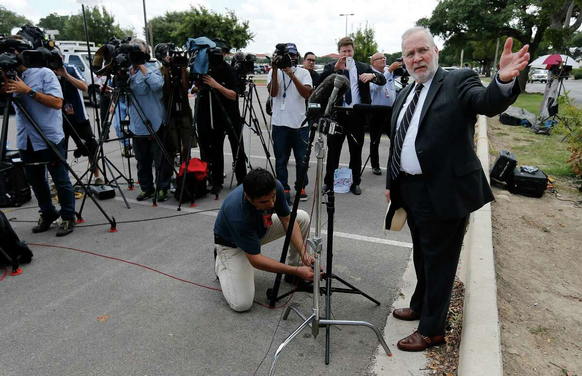 Attorney Eugene Fidell addresses the media during a break from the pre-trial hearing for his client Sgt. Bowe Bergdahl and his Article 32 hearing at Joint Base San Antonio - Fort Sam Houston on Thursday, Sept. 17, 2015. (Kin Man Hui/San Antonio Express-News)