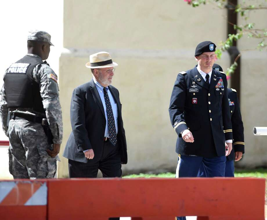 Eugene Fidell, middle, and Lt. Col. Franklin Rosenblatt, right, the defense team for Sgt. Bowe Bergdahl, leave the morning session of the continuation of the Article 32 preliminary hearing to determine whether Bergdahl will be court-martialed at JBSA-Ft. Sam Houston on Friday, Sept. 18, 2015. Photo: Billy Calzada, Staff / San Antonio Express-News / San Antonio Express-News
