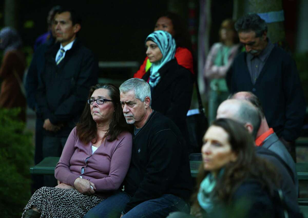 Students, staff and community members attend a vigil in honor of the five North Seattle Community College international students who died last week in a bus accident. Photographed on Wednesday, September 30, 2015 at North Seattle College.