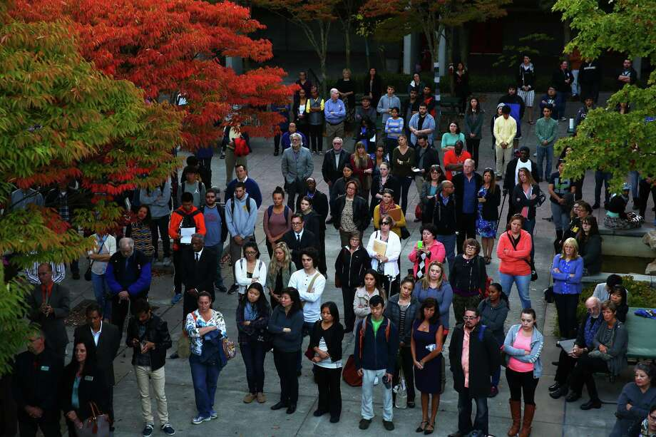 Students, staff and community members attend a vigil in honor of the five North Seattle Community College international students who died last week in a bus accident. On Wednesday Seattle Mayor Ed Murray asked residents to donate to help the victims of the tragedy. Many international families were impacted by the wreck. The link to donate can be found here. Photographed on Wednesday, September 30, 2015 at North Seattle College. Photo: GENNA MARTIN, SEATTLEPI.COM / SEATTLEPI.COM