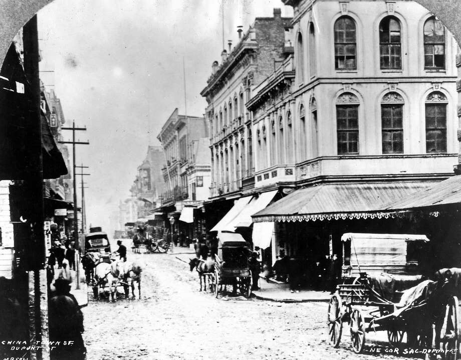 Chinatown 1896, the corner of Sacramento and Dupont  St. (now Grant Avenue)   photo by appears to be by M.B.Coll