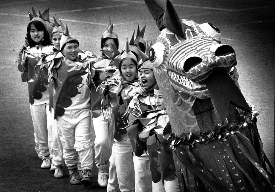 Feb. 23, 1988: A baby dragon was made by children at Clarendon Alternative School in San Francisco, for a Chinatown celebration. Photo: Eric Luse, The Chronicle