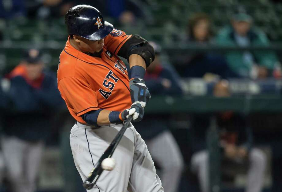 Center fielder Carlos Gomez had a huge impact in his return to the Astros' lineup Wednesday night. Gomez went 2-for-4, stole two bases, scored a run, and doubled pinch runner James Jones off first base on a fly out for a game-ending double play. Photo: Stephen Brashear, FRE / FR159797 AP