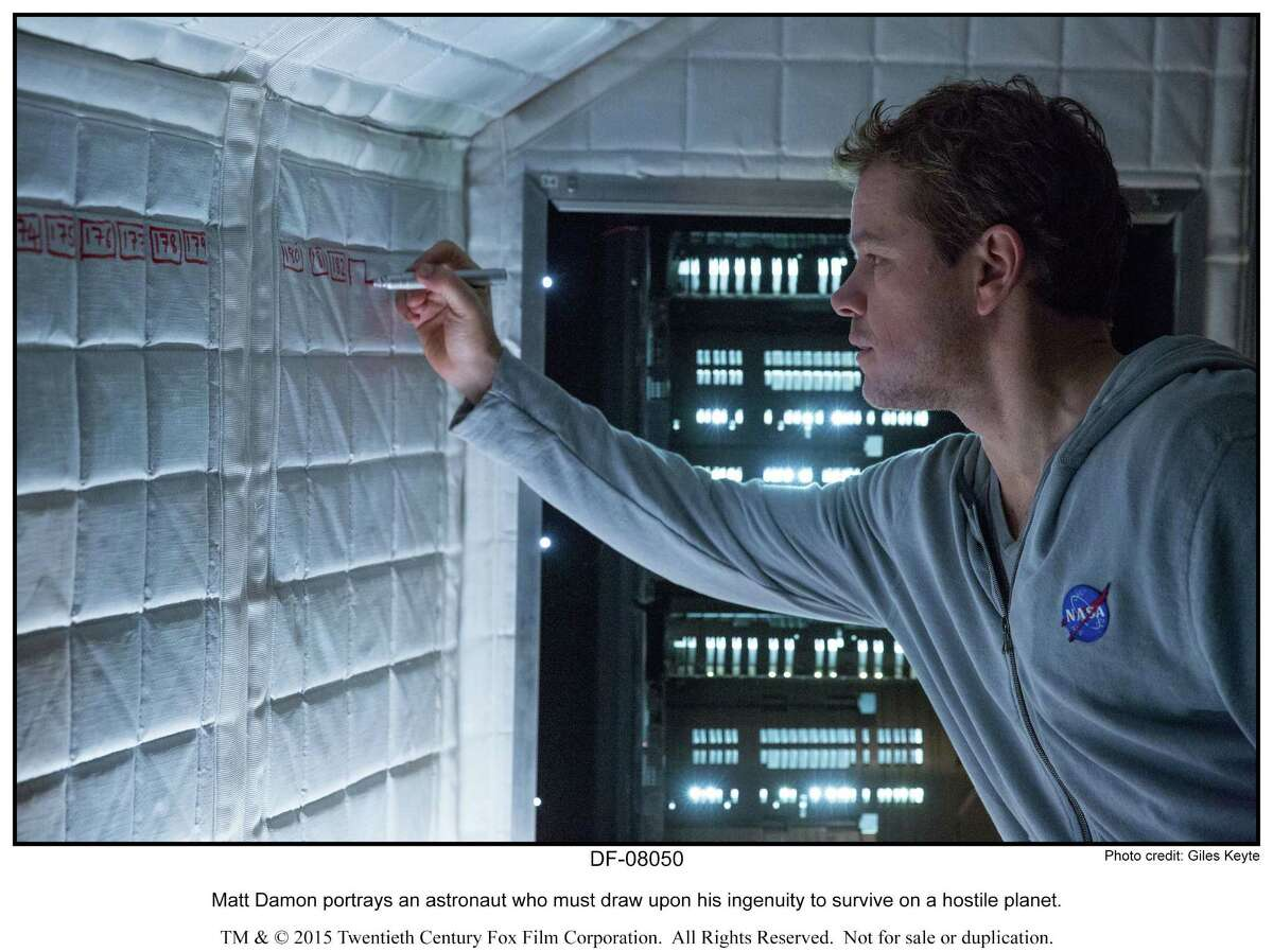 Matt Damon portrays an astronaut who must draw upon his ingenuity to survive on a hostile planet in