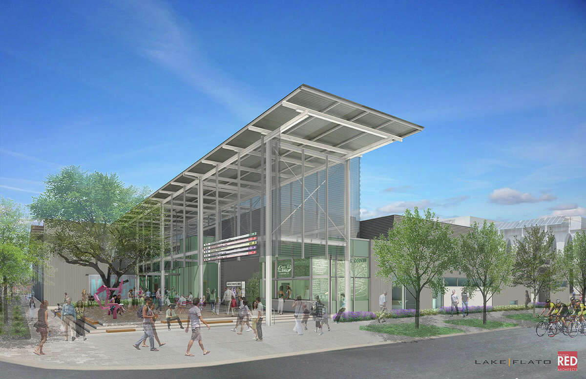 Artist rendering of the Midtown Arts & Theater Center Houston, a project that will create an open space with flexible theaters and galleries for Houston performing arts groups.